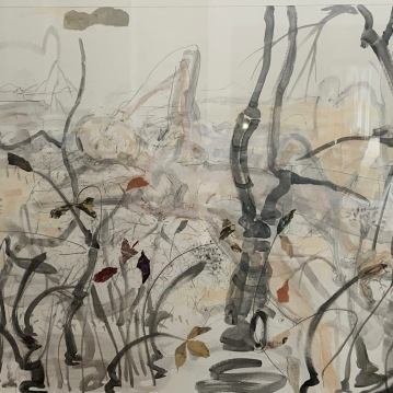 """Dreamscape #1, '20, graphite, ink and mixed Media, 39"""" X 44. $3800"""