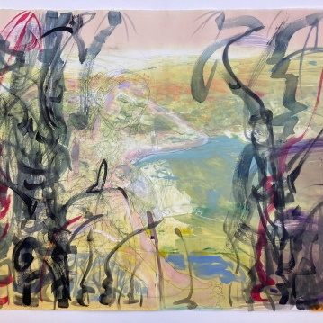 """Reflection in the Swale, 21', graphite and mixed media on rag board, 29.25"""" X 41.5"""", $3500"""