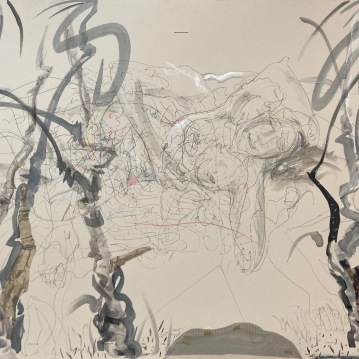 """Tangled Up in Two, '21, graphite and Mixed Media on Rag Board. 33.5"""" X 48"""" $3500"""
