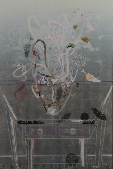 "Ghost Table with Vase, 2015, Monotype, 45"" x 30"""
