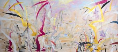 "Meditation Grove, 2015, 30"" x 68"", Acrylic and Mixed Media on Canvas"