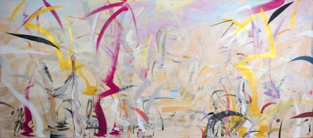 "Meditation Grove, 2015, 30"" x 68"", Acrylic and Mixed Media on Canvas"