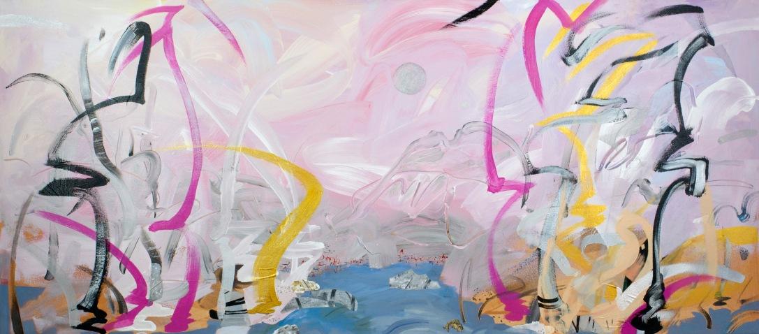"""Flamingo, 2015, 30"""" x 68"""", Acrylic and Mixed Media on Canvas"""