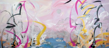 "Flamingo, 2015, 30"" x 68"", Acrylic and Mixed Media on Canvas"