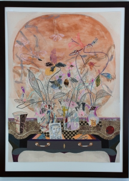 "Marble Top Fan and Flowers, 2017, Mixed Media, 40"" x 30"""