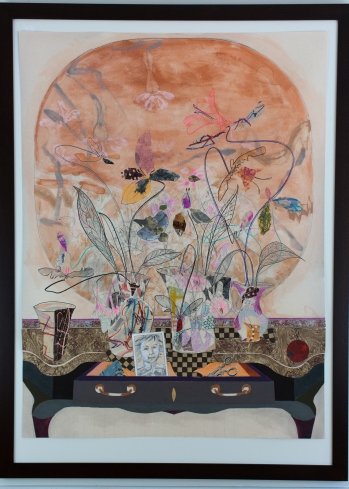 """Marble Top Fan and Flowers, 2017, Mixed Media, 40"""" x 30"""""""