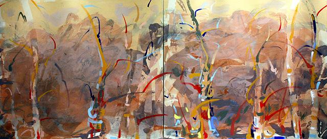 """Appalachian A.M., 2011, Acrylic on Canvas Diptych, 36"""" x 84"""""""