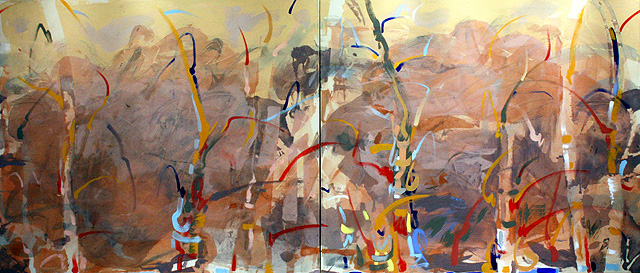 "Appalachian A.M., 2011, Acrylic on Canvas Diptych, 36"" x 84"""