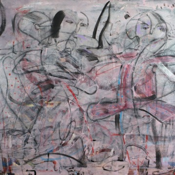 Strap Hangers, 2014, 38x46, Acrylic and Mixed Media on Canvas