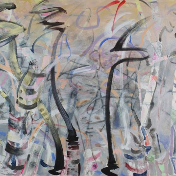 Swinging Birches, 2014, 40x54, Acylic and Mixed Media on Canvas