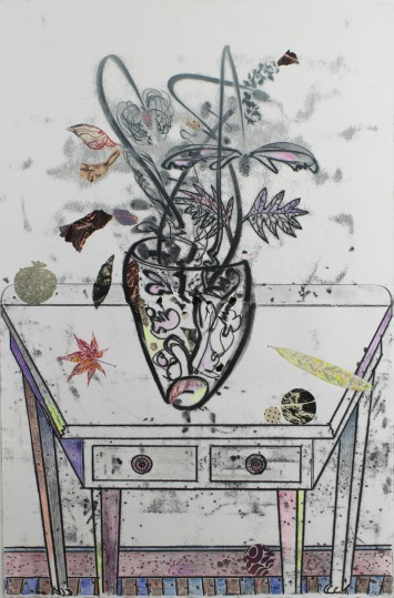 """White Table with Star Leaf, 2015, Monotype, 44"""" x 30"""""""