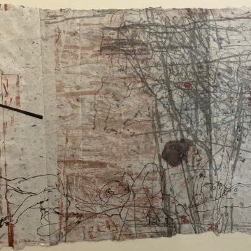 """Quiescence #2, 2000, engraving and mixed media on handmade paper, 16"""" X 20"""", $1500"""