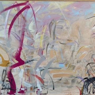 "Meditation Grove, '15, Acrylic and mixed media on canvas, 30"" X 68"", $4500"