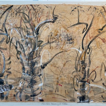 """Man Walking in Nature, '20-'21, Ink and Mixed Media on Muslin on canvas, 36"""" X 44"""", $3000"""